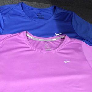 2 Nike dri-fit athletic tops size L